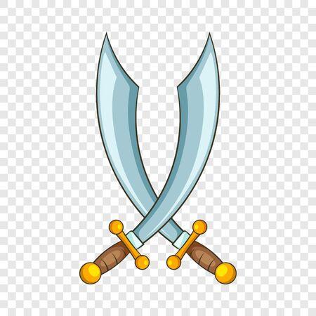 Crossed pirate sabers icon. Cartoon illustration of crossed pirate sabers vector icon for web Ilustração