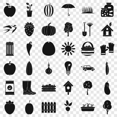 Seed icons set, simple style