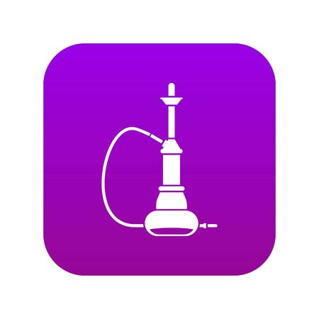 Hookah icon digital purple for any design isolated on white vector illustration
