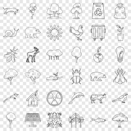 Ecology icons set, outline style Illustration