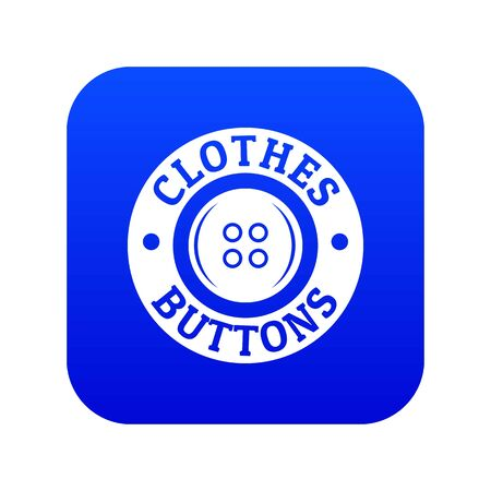 Clothes button vintage icon blue vector
