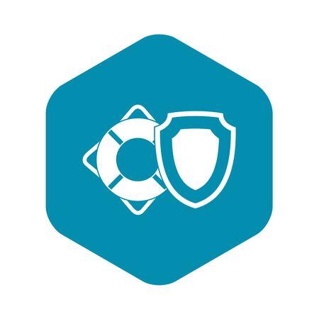 Icono de escudo de seguridad y aro salvavidas. Ilustración simple del icono de vector de escudo de seguridad y aro salvavidas para web Ilustración de vector