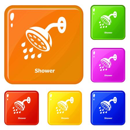 Shower icons set collection vector 6 color isolated on white background