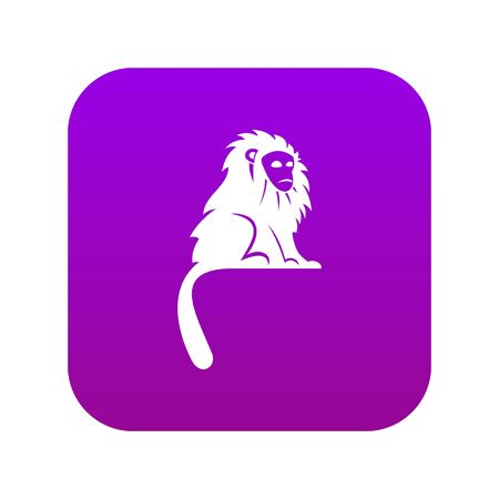 Hairy monkey icon digital purple for any design isolated on white vector illustration Banque d'images - 130248921