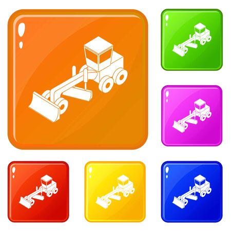 Grader icons set collection vector 6 color isolated on white background
