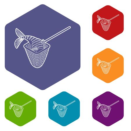 Fishing net icons vector colorful hexahedron set collection isolated on white