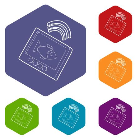 Echo sounder icons vector colorful hexahedron set collection isolated on white Иллюстрация