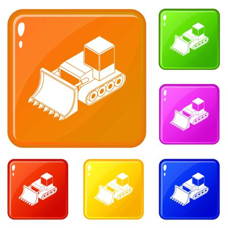 Bulldozer icons set collection vector 6 color isolated on white background