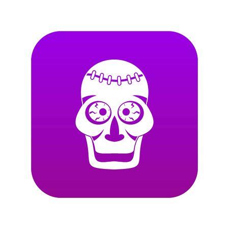 Skull icon digital purple for any design isolated on white vector illustration Иллюстрация