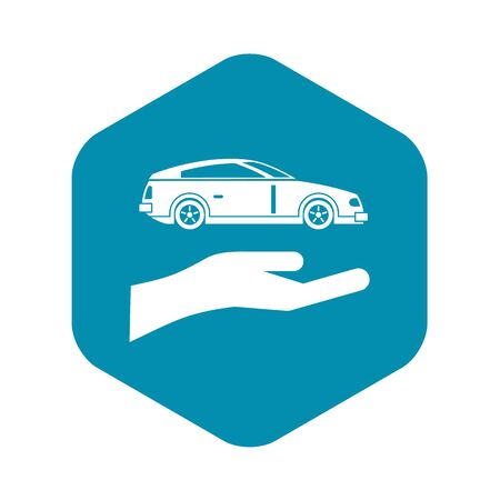 Hand and car icon. Simple illustration of hand and car vector icon for web Ilustração
