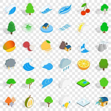 Ecology icons set, isometric style