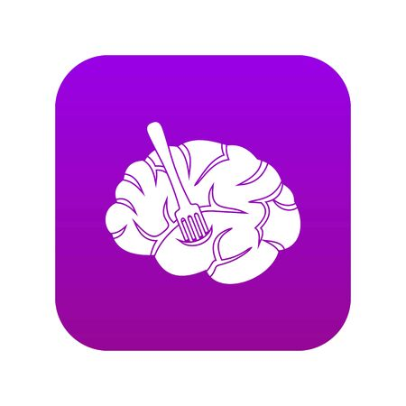 Fork is inserted into the brain icon digital purple for any design isolated on white vector illustration Illustration
