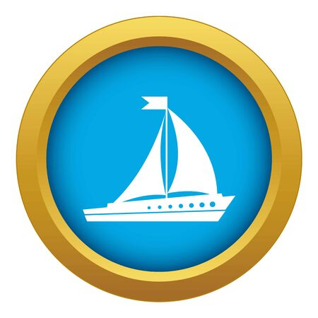 Sailing ship icon blue vector isolated on white background for any design