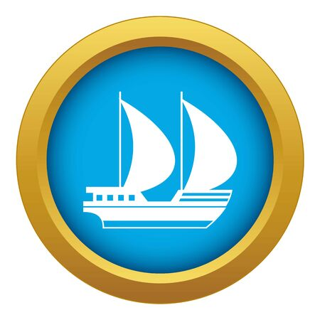 Big yacht icon blue vector isolated on white background for any design