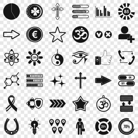 Loading icons set. Simple style of 36 loading vector icons for web for any design
