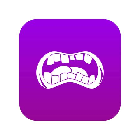 Zombie mouth icon digital purple for any design isolated on white vector illustration