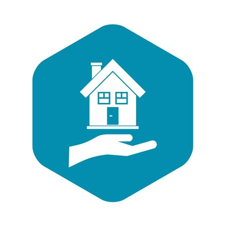 Hand holding house icon. Simple illustration of hand holding house vector icon for web