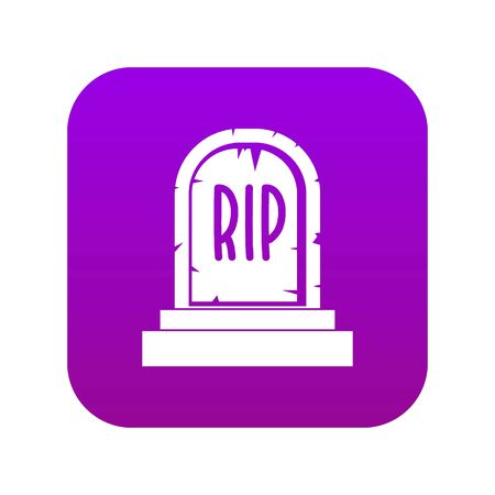 Gravestone with RIP text icon digital purple for any design isolated on white vector illustration
