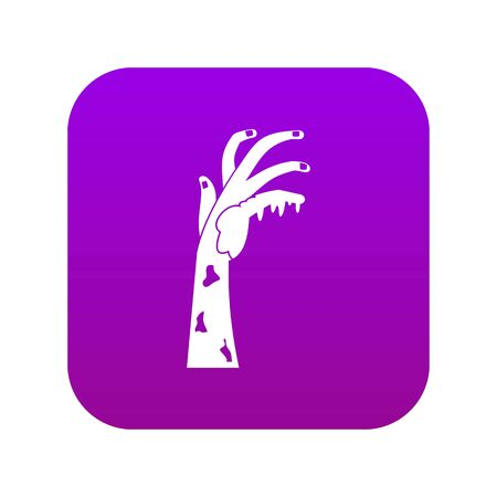 Zombie hand icon digital purple for any design isolated on white vector illustration