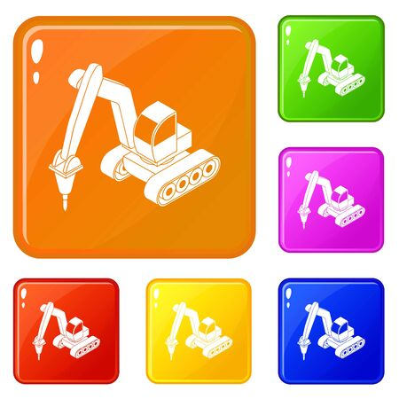 Drill tractor icons set vector color