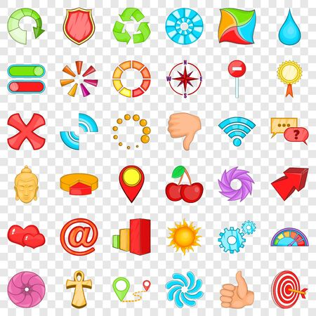 Computer graphic icons set, cartoon style