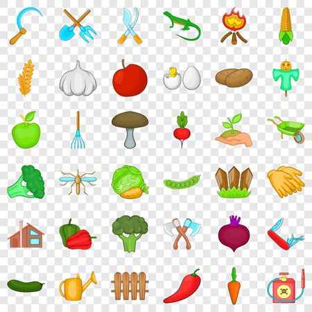 Gardening icons set, cartoon style