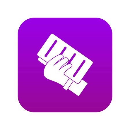 Brick in a hand icon digital purple for any design isolated on white vector illustration Ilustração