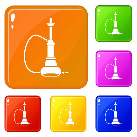 Hookah icons set collection vector 6 color isolated on white background