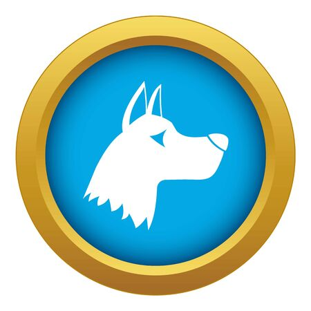 Doberman dog icon blue vector isolated on white background for any design Stock Illustratie