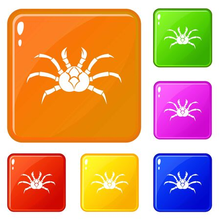 Crab icons set vector color Ilustrace