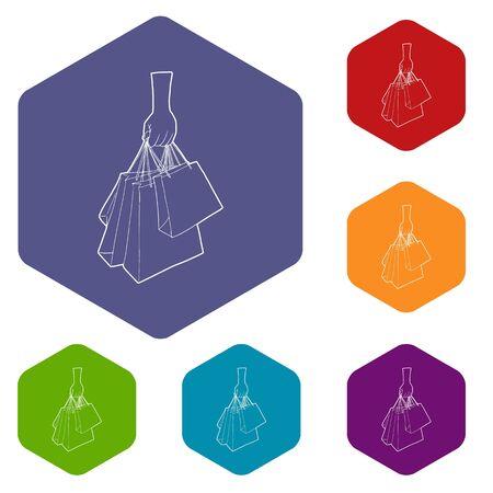 Une main tenant des icônes de sacs à provisions vector collection de jeu d'hexaèdre coloré isolé sur blanc Vecteurs