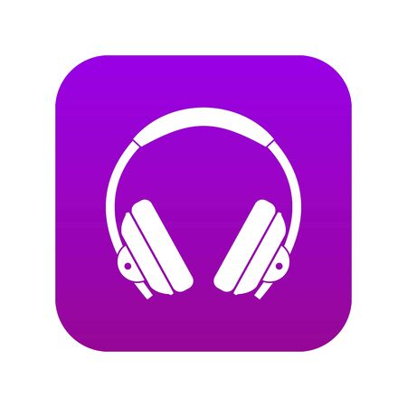 Headphone icon digital purple 向量圖像