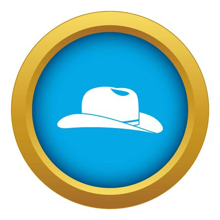 Cowboy hat icon blue vector isolated on white background for any design Illustration