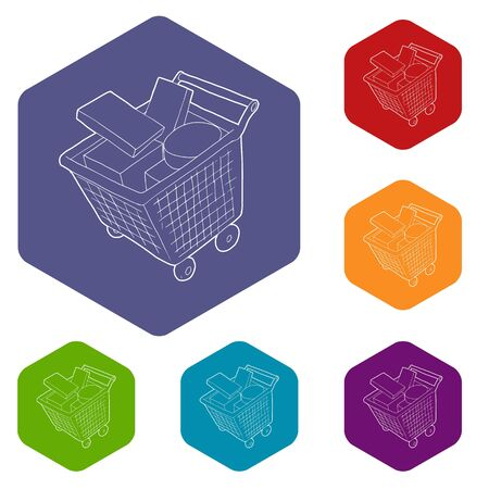 Sale shopping cart with boxes icons vector colorful hexahedron set collection isolated on white Illustration