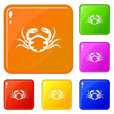Fresh live crab icons set vector color