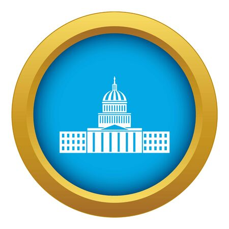 Capitol icon blue vector isolated on white background for any design