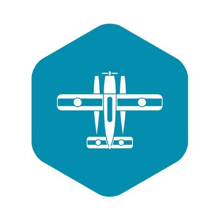 Ski equipped airplane icon. Simple illustration of ski equipped airplane vector icon for web