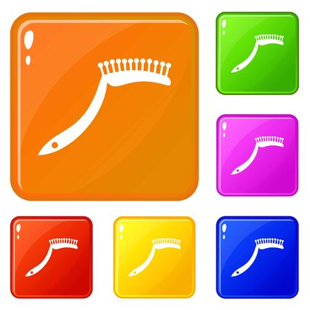 Pet comb icons set collection vector 6 color isolated on white background
