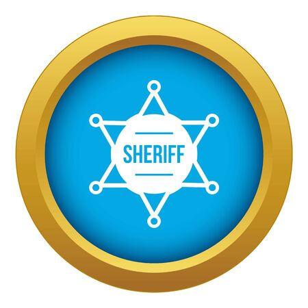 Sheriff badge icon blue vector isolated on white background for any design