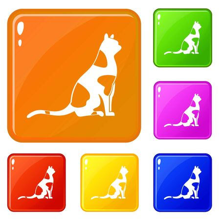 Sitting cat icons set collection vector 6 color isolated on white background