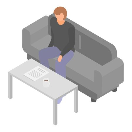 Man at office sofa icon. Isometric of man at office sofa vector icon for web design isolated on white background