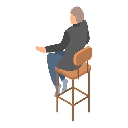 Man at bar chair icon. Isometric of man at bar chair vector icon for web design isolated on white background