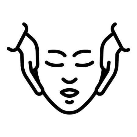 Face massage icon. Outline face massage vector icon for web design isolated on white background