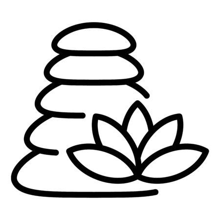 Icône de massage de pile de pierre, style de contour