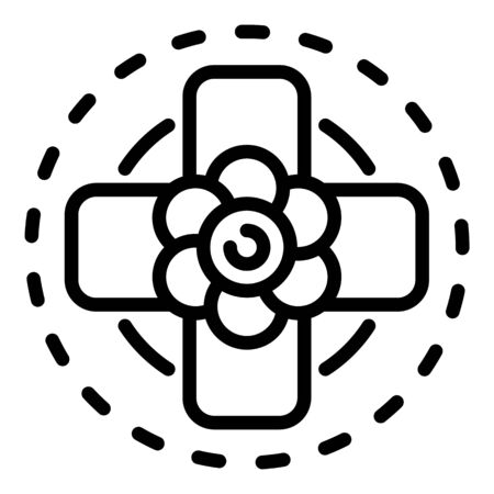Top view flower cross icon. Outline top view flower cross vector icon for web design isolated on white background 向量圖像