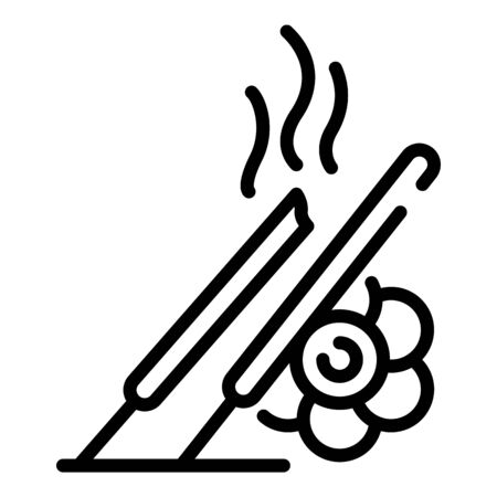 Smoke sticks icon, outline style
