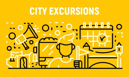 City excursion banner, outline style 일러스트