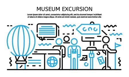 Museum excursion banner, outline style