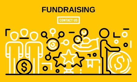 Fundraising banner, outline style