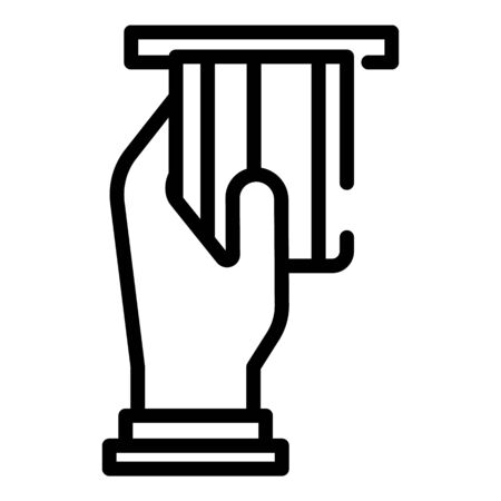 Hand take credit card icon, outline style